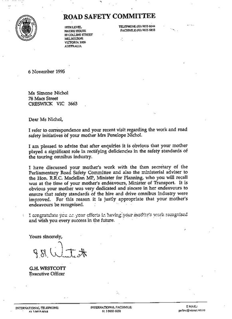 Letter From Road Safety Committee Victorian Cultural Tourism